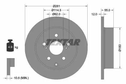Тормозной диск на TOYOTA HARRIER 'TEXTAR 92162103'.