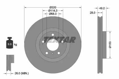 Вентилируемый тормозной диск на Инфинити Джи 'TEXTAR 92162400'.