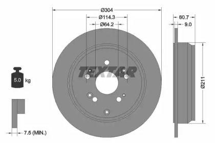 Тормозной диск на ACURA RDX 'TEXTAR 92162503'.