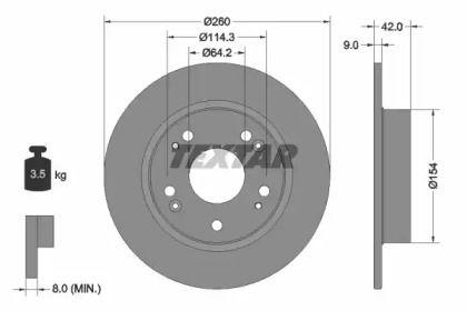 Тормозной диск на ACURA ILX 'TEXTAR 92164303'.