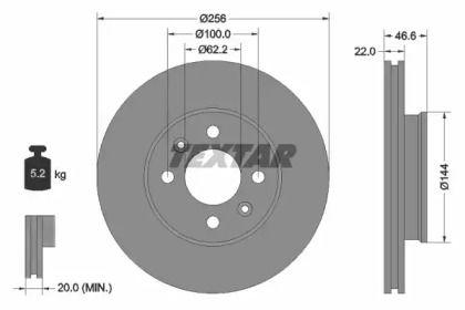 Вентилируемый тормозной диск на Киа Прайд 'TEXTAR 92164703'.