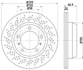 Тормозной диск на Порше 718 'TEXTAR 92165303'.