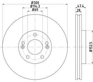 Вентилируемый тормозной диск на Хендай Грандер 'TEXTAR 92166200'.