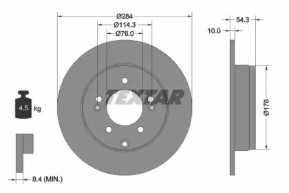 Тормозной диск на Киа Каденца 'TEXTAR 92166600'.
