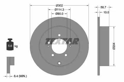 Тормозной диск на CITROEN C4 AIRCROSS 'TEXTAR 92167003'.