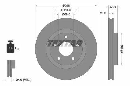 Вентилируемый тормозной диск на NISSAN ROGUE 'TEXTAR 92167403'.