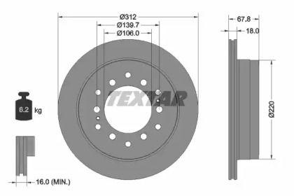 Вентилируемый тормозной диск на Тайота Секвойя 'TEXTAR 92170103'.