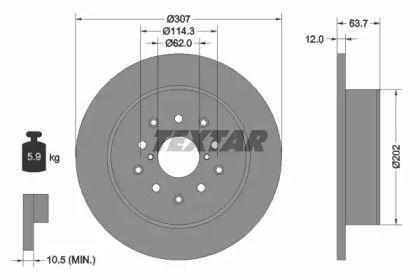 Тормозной диск на TOYOTA ALTEZZA 'TEXTAR 92170803'.