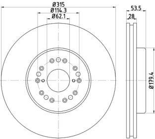 Вентилируемый тормозной диск на Тайота Сенчури 'TEXTAR 92173803'.
