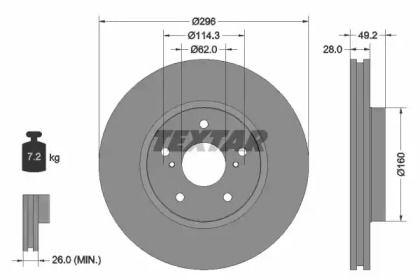 Вентилируемый тормозной диск на TOYOTA CROWN 'TEXTAR 92174303'.