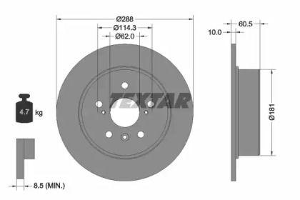 Тормозной диск на Тайота Камри 'TEXTAR 92174903'.