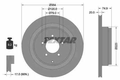Перфорированный тормозной диск на RANGE ROVER 'TEXTAR 92175503'.