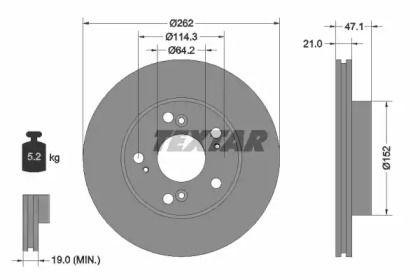 Вентилируемый тормозной диск на Хонда ЦРЗ 'TEXTAR 92175803'.