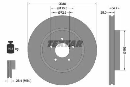 Вентилируемый тормозной диск на Додж Челленджер 'TEXTAR 92177105'.