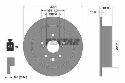 Тормозной диск на TOYOTA CROWN 'TEXTAR 92179803'.