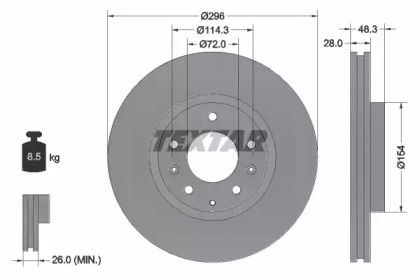 Вентильований гальмівний диск на MAZDA CX-7 TEXTAR 92180803.