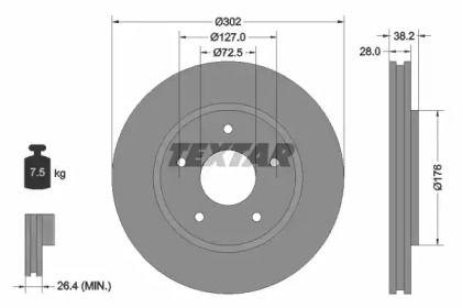 Перфорированный тормозной диск на DODGE GRAND CARAVAN 'TEXTAR 92181503'.