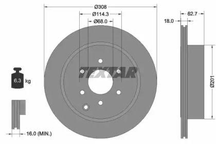 Вентилируемый тормозной диск на NISSAN NAVARA 'TEXTAR 92181603'.