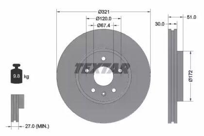 Вентилируемый тормозной диск на Шевроле Камаро 'TEXTAR 92187005'.