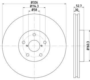 Вентилируемый тормозной диск на SUBARU WRX TEXTAR 92194303.