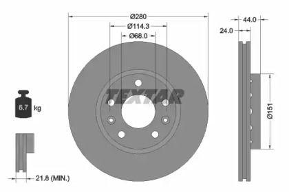 Перфорированный тормозной диск на NISSAN TERRANO 'TEXTAR 92195505'.