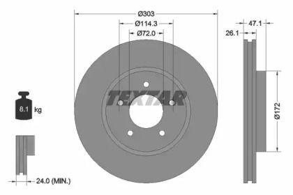 Вентилируемый тормозной диск на FORD ESCAPE TEXTAR 92197703.