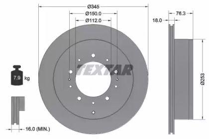Вентилируемый тормозной диск на TOYOTA TUNDRA 'TEXTAR 92198503'.