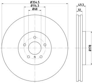 Вентилируемый тормозной диск на NISSAN 370Z 'TEXTAR 92199105'.