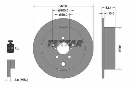 Тормозной диск на SUBARU WRX TEXTAR 92200000.