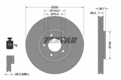Вентилируемый тормозной диск на Додж Дарт 'TEXTAR 92220803'.