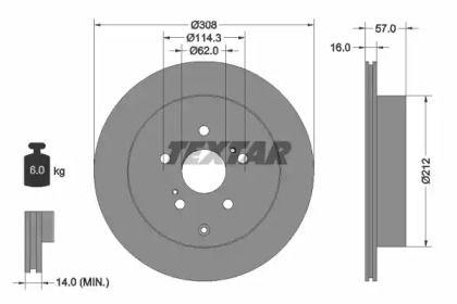Вентилируемый тормозной диск на Сузуки ХЛ7 'TEXTAR 92222200'.