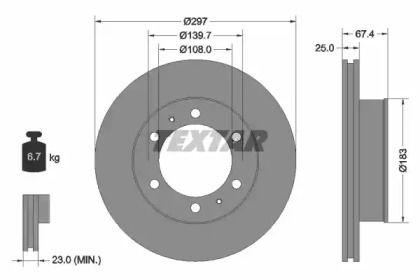 Вентилируемый тормозной диск на TOYOTA FORTUNER 'TEXTAR 92222600'.