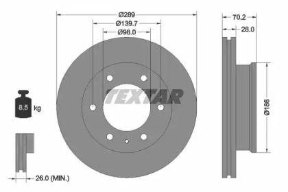 Вентилируемый тормозной диск на MAZDA BT-50 'TEXTAR 92223000'.