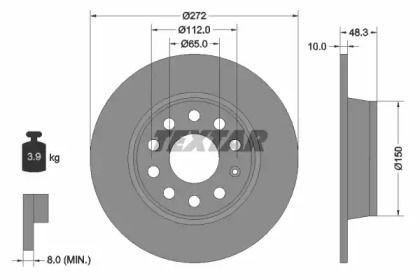 Тормозной диск на VOLKSWAGEN GOL 'TEXTAR 92224903'.