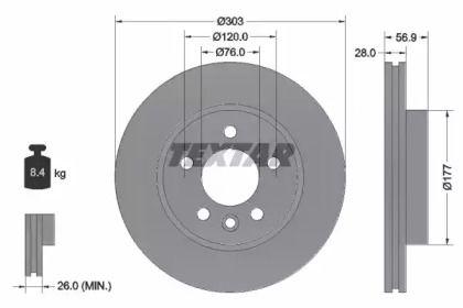 Вентилируемый тормозной диск на Фольксваген Амарок 'TEXTAR 92228903'.