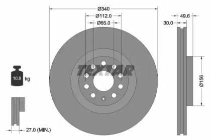 Вентилируемый тормозной диск на Фольксваген Тигуан Олспейс 'TEXTAR 92229805'.