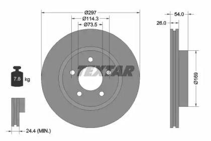 Перфорированный тормозной диск на CHRYSLER 300M 'TEXTAR 92230003'.