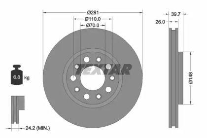 Вентилируемый тормозной диск на Джип Ренегат 'TEXTAR 92230103'.