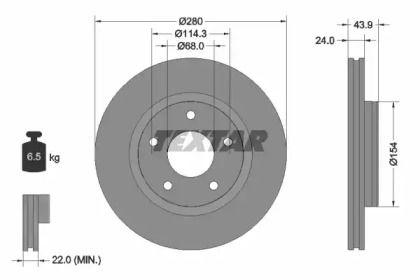 Вентилируемый тормозной диск на NISSAN SENTRA 'TEXTAR 92232203'.