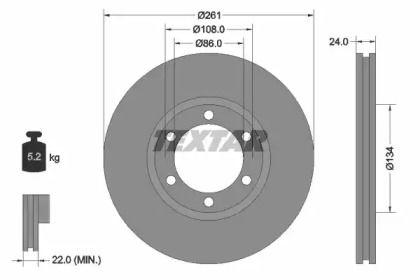 Вентилируемый тормозной диск на KIA K2500 'TEXTAR 92234700'.