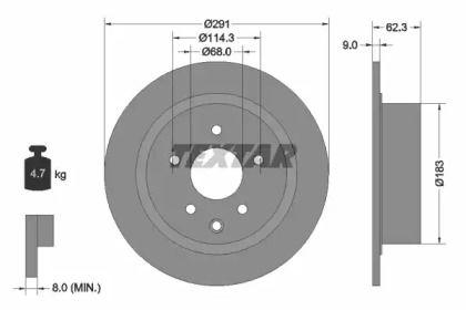 Тормозной диск на INFINITI ESQ 'TEXTAR 92237103'.