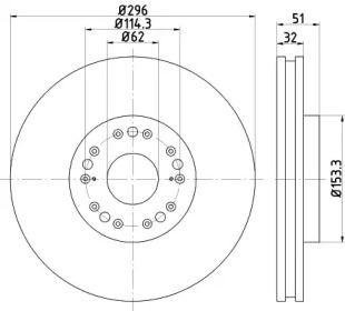 Вентилируемый тормозной диск на TOYOTA MARK 'TEXTAR 92237503'.