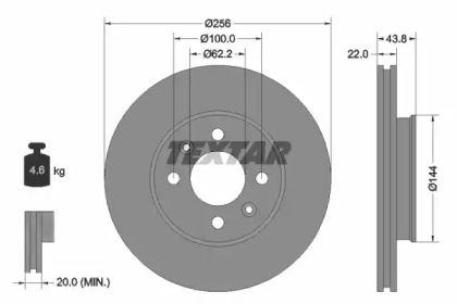 Вентилируемый тормозной диск на Хендай Верна 'TEXTAR 92237903'.