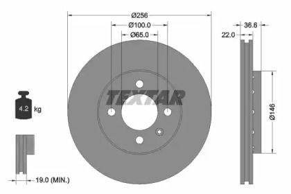Перфорированный тормозной диск на Фольксваген Ап 'TEXTAR 92239403'.