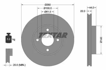 Вентилируемый тормозной диск на RENAULT PULSE 'TEXTAR 92239903'.