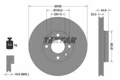 Перфорированный тормозной диск на RENAULT DOKKER 'TEXTAR 92241503'.