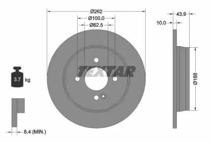 Тормозной диск на Хендай Верна 'TEXTAR 92242203'.