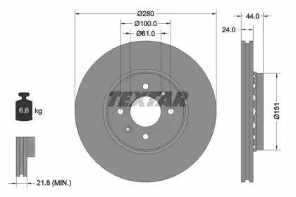 Перфорированный тормозной диск на RENAULT DOKKER 'TEXTAR 92254603'.