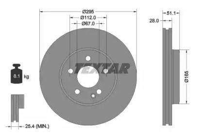 Вентильований гальмівний диск на Mercedes-Benz GLA  TEXTAR 92254803.