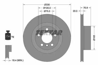 Вентилируемый тормозной диск на BMW X4 TEXTAR 92256303.